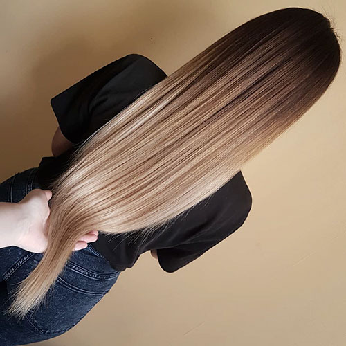 Balayage Long Straight Dark Hair