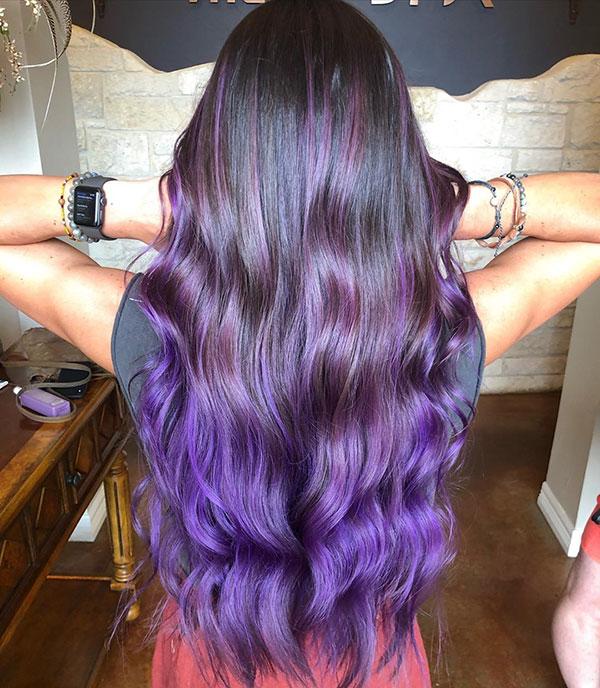 Long Purple Hair Color