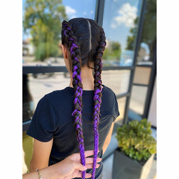 Hairstyles For Long Purple Hair