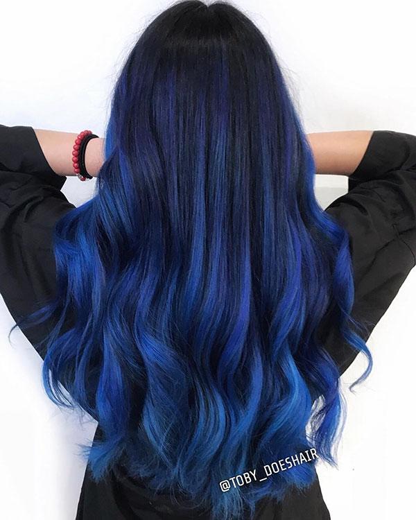 Super Long Blue Hair